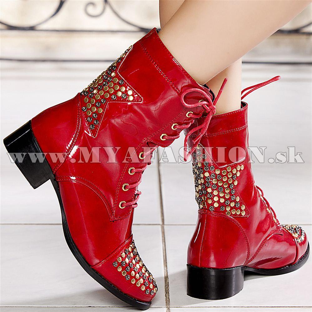 c1f91c905f Dámske topánky - dámske lakované červené topánky na šnurovanie