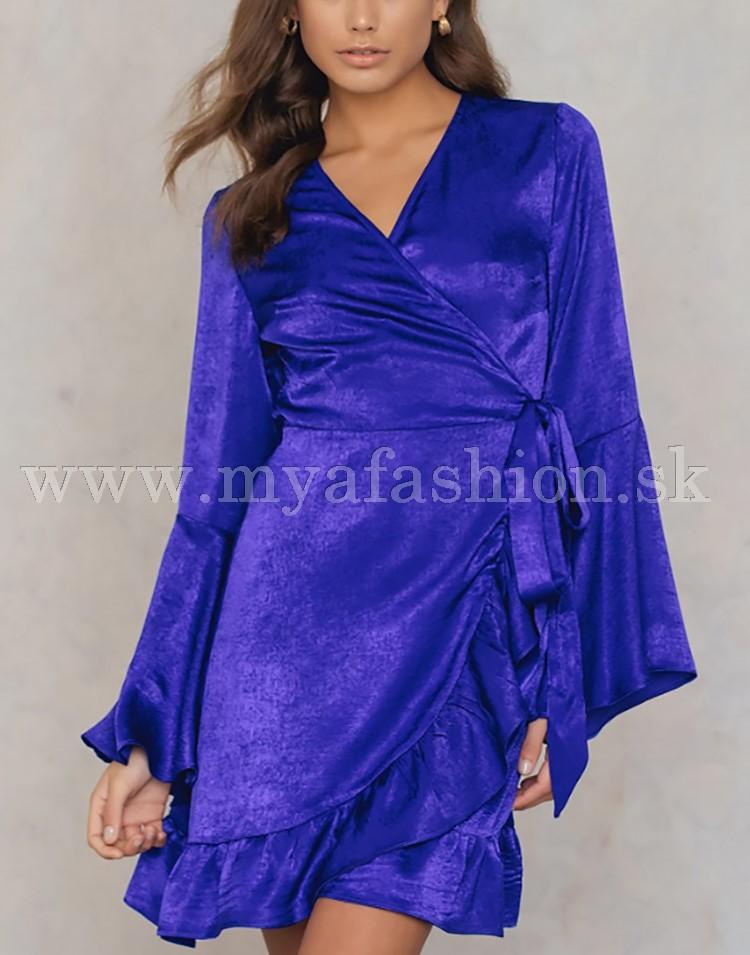 cd53aecef2e2 dámske modrofialové saténové šaty s volánmi