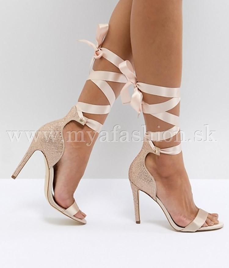 9634e56752 Dámske čižmy - dámske slávnostné kamienkové sandále so šnurovaním