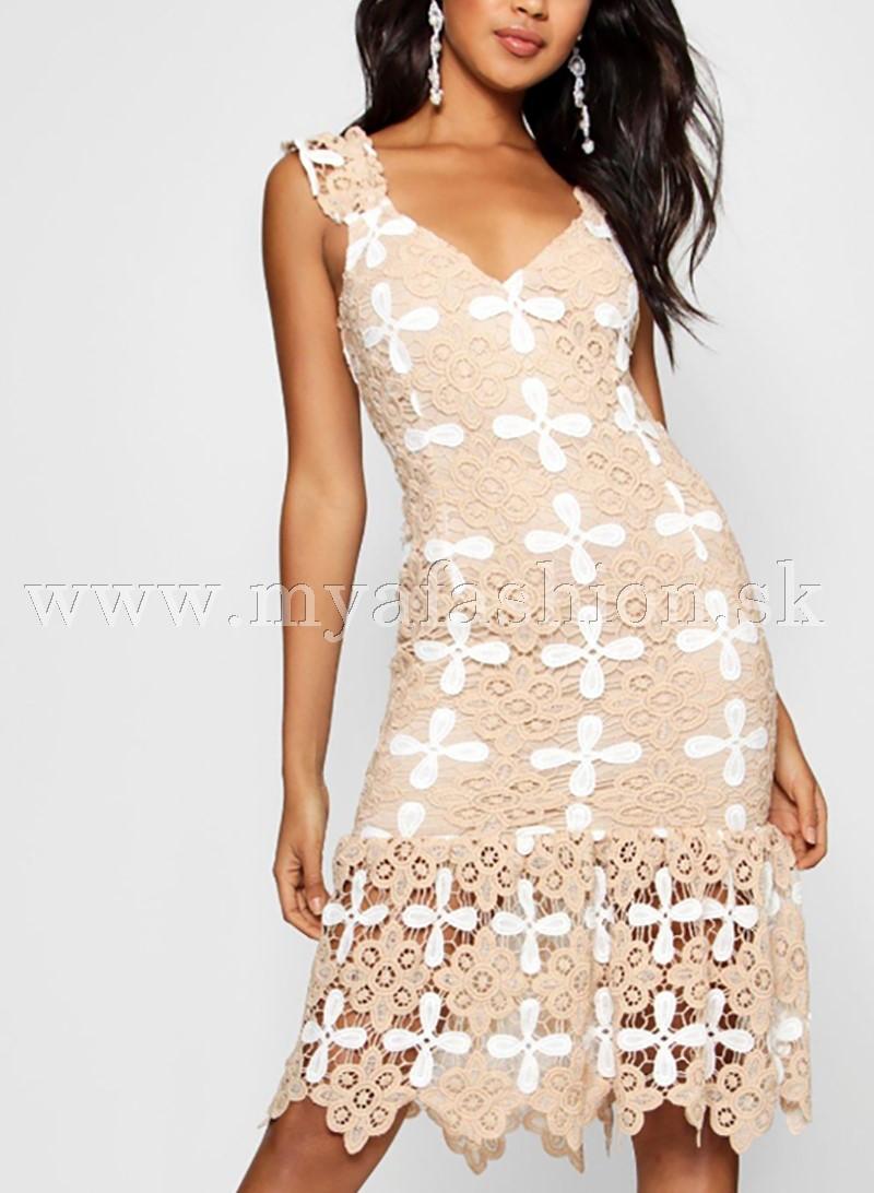 94470684d13a dámske béžové čipkované šaty