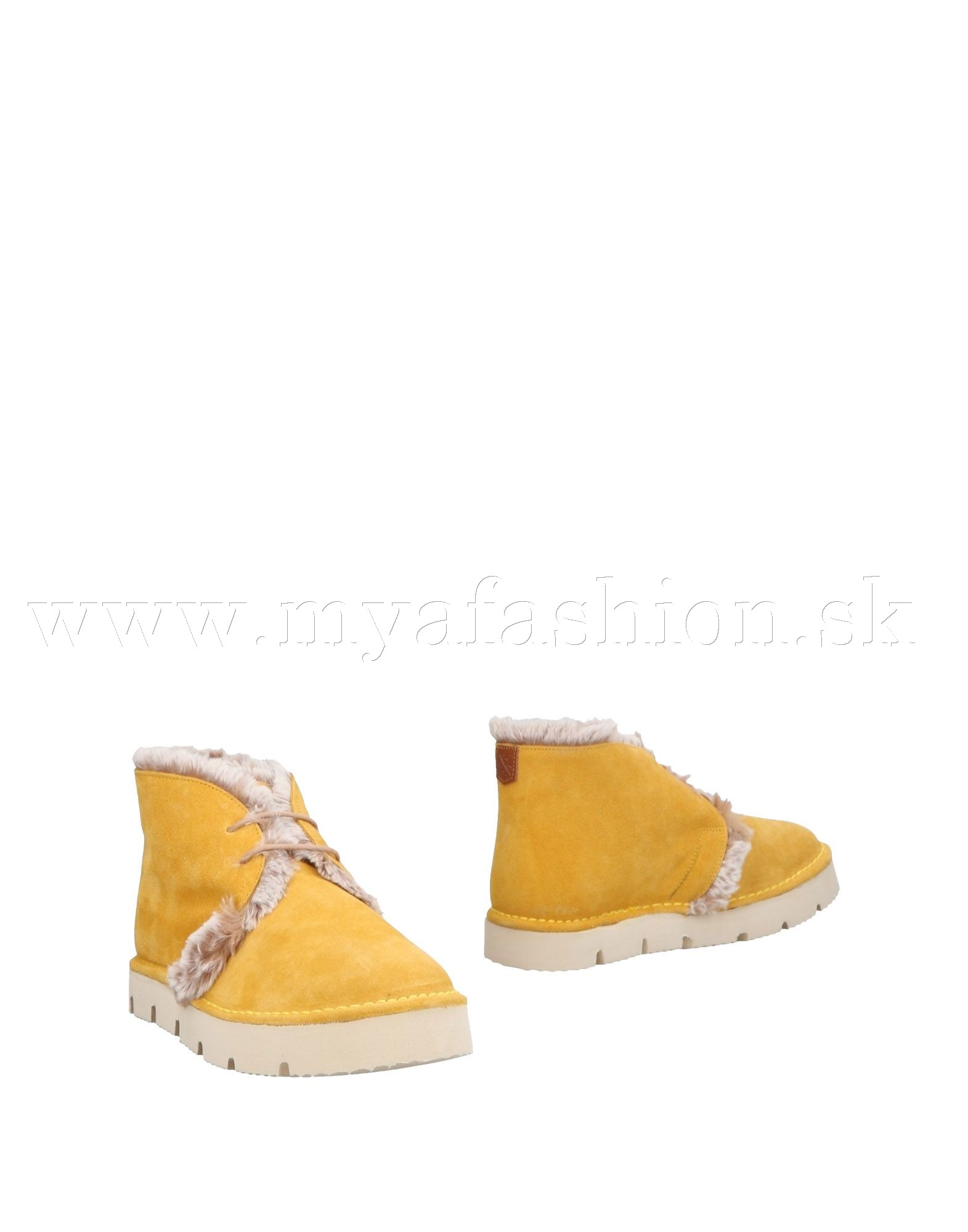 ff71687673 Dámske topánky - dámske žlté kožušinové členkové topánky