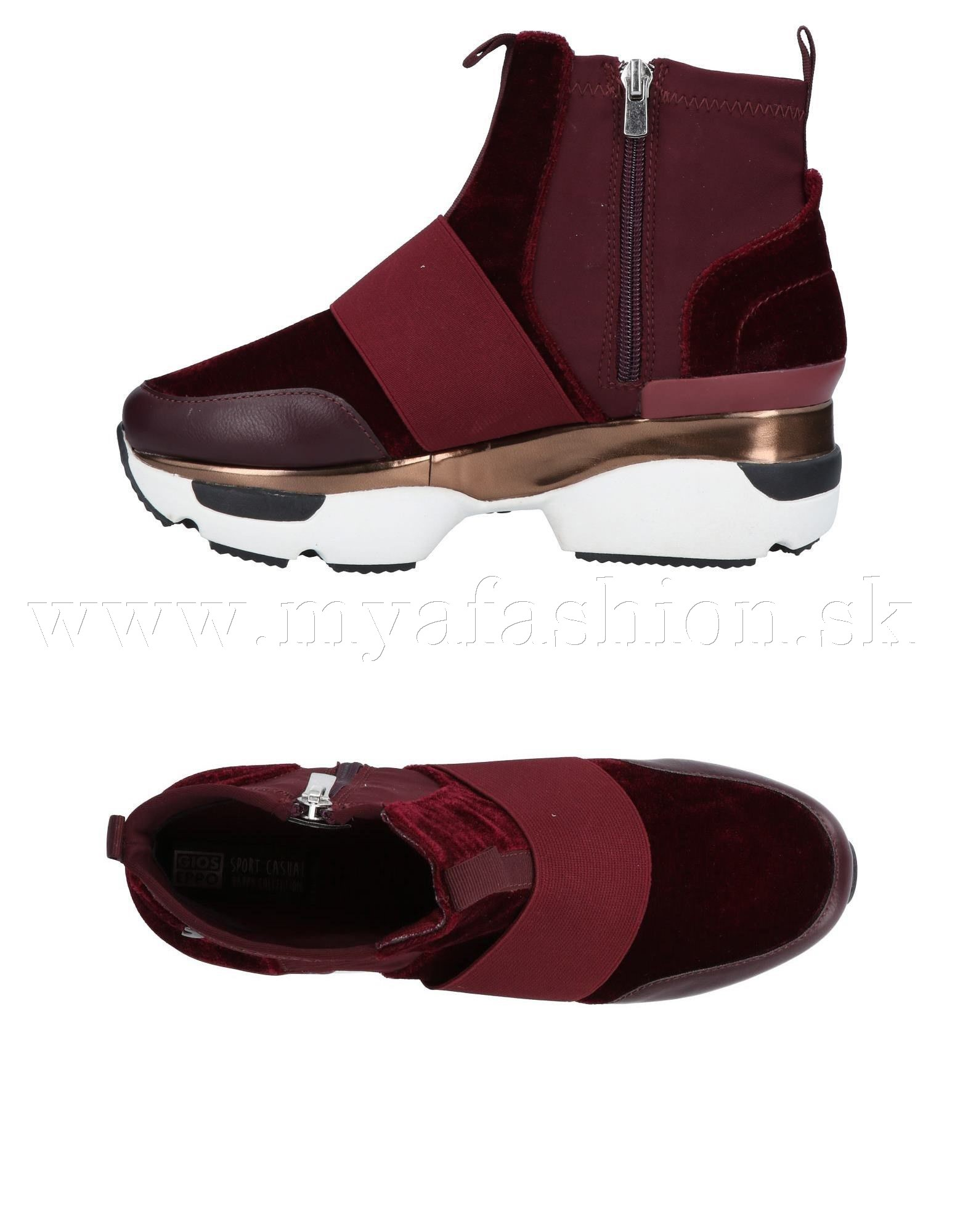 81fdc7fa4e42 Dámske čižmy - dámske bordové členkové topánky na platforme