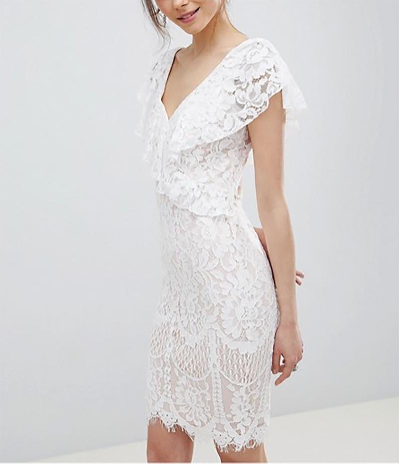 5a8b142022ed dámske biele čipkované šaty