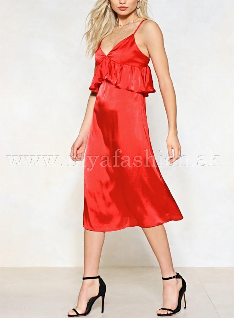 28c4cbc27906 dámske saténové červené šaty na ramienka