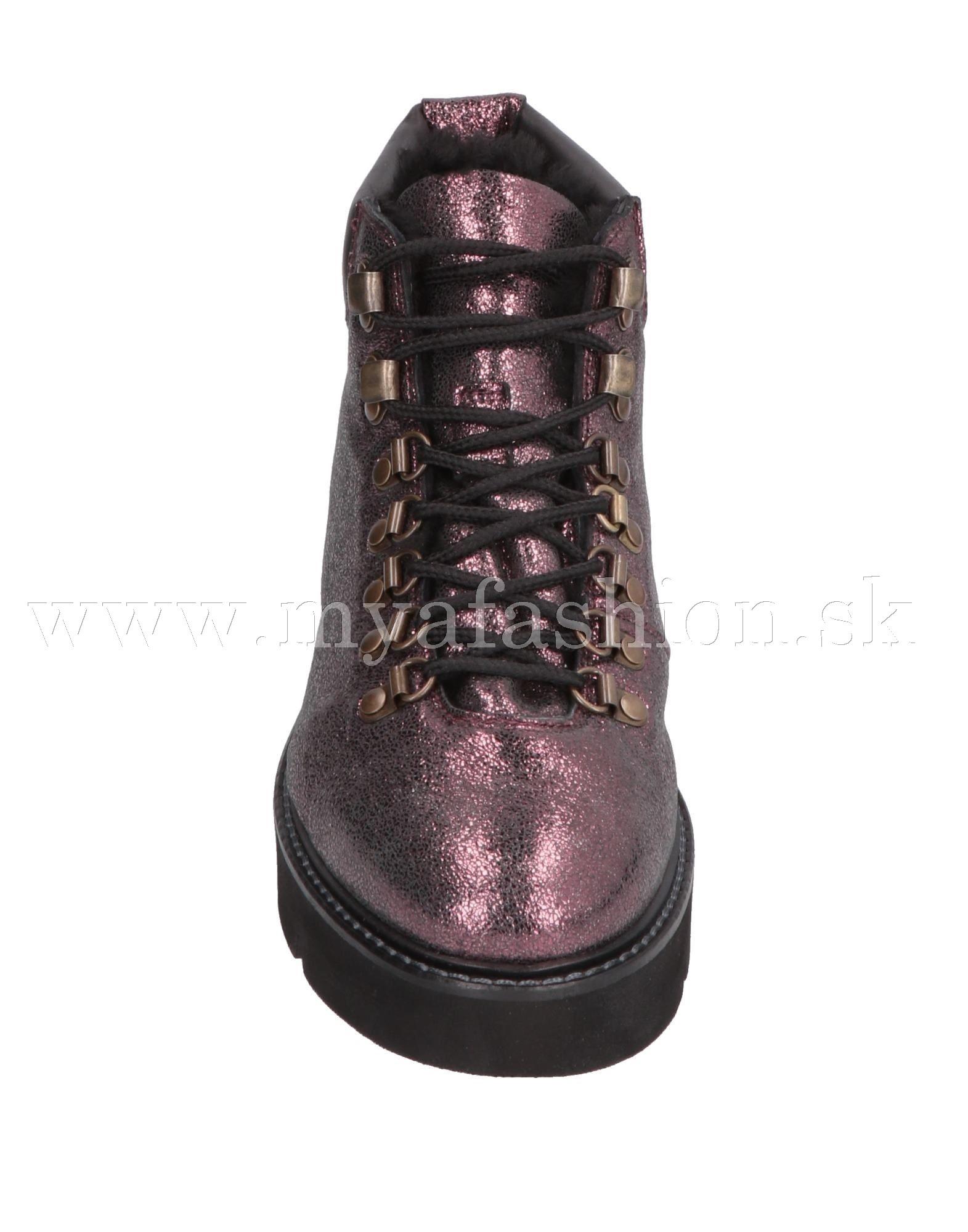 cb8183370cc65 Dámske čižmy - dámske fialové metalické zimné topánky