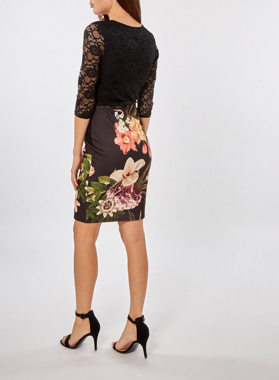 82d9d6752ece dámske kvetinové šaty s čipovými rukávmi