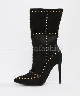 bffff785cb53 dámske čierne čižmy s vybíjanými detailami