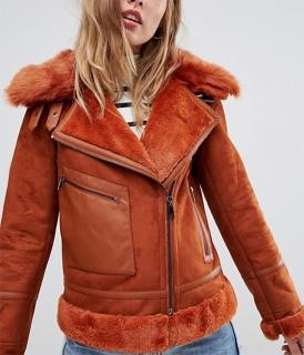 847e6506a dámska bunda s kožušinkou koženého vzhľadu