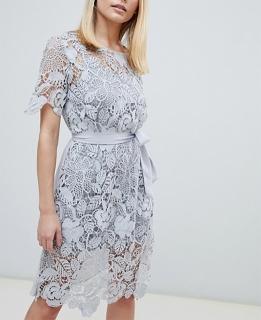 ae449760c6c7 dámske čipkované šedomodré spoločenské šaty