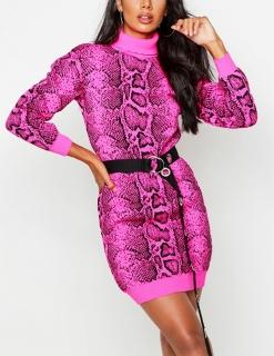 a8965643fb56 dámske rolákové ružové šaty s hadím vzorom